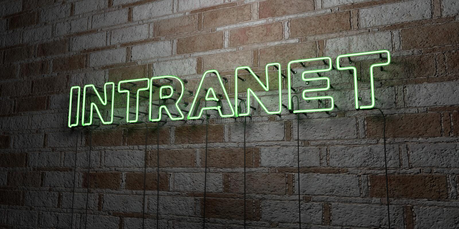 INTRANET - Glowing Neon Sign on stonework wall - 3D rendered royalty free stock illustration. Can be used for online banner ads and direct mailers royalty free illustration
