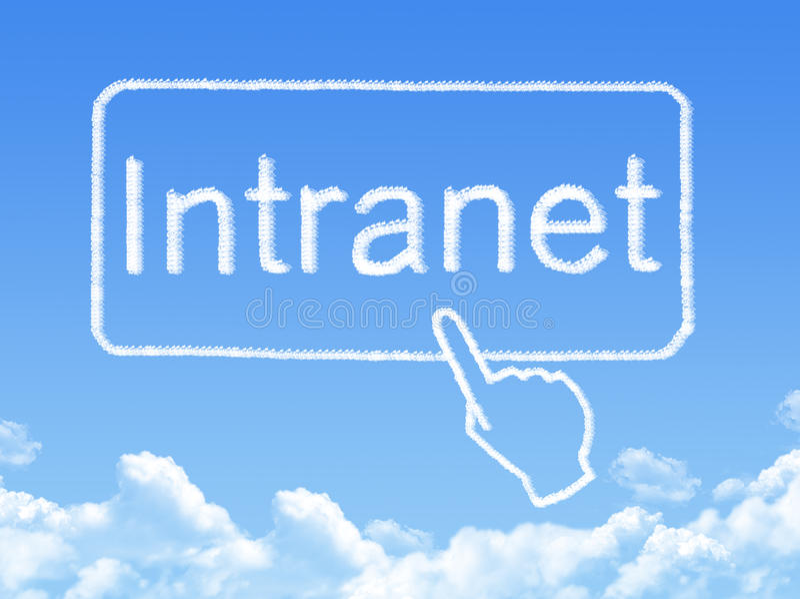 Intranet message cloud shape. On blue sky royalty free illustration