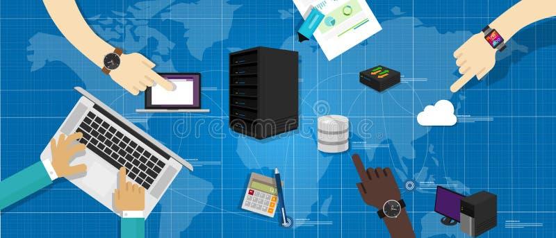 Intranet network server database router cloud internet interconnected world map IT infrastructure management. Intranet network computer server database router vector illustration