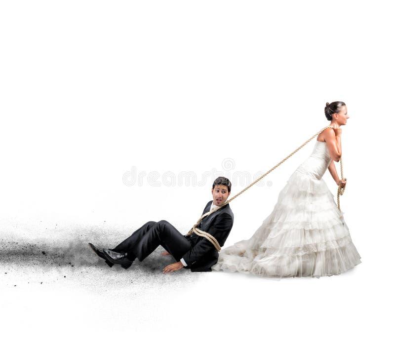 Intrappolato dal matrimonio fotografia stock