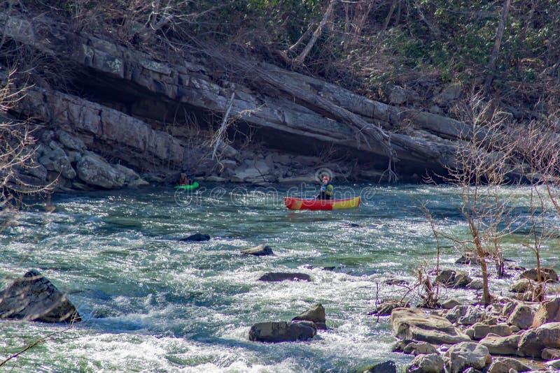Intraprendendo le rapide di Whitewater sul fiume di Muerray immagine stock
