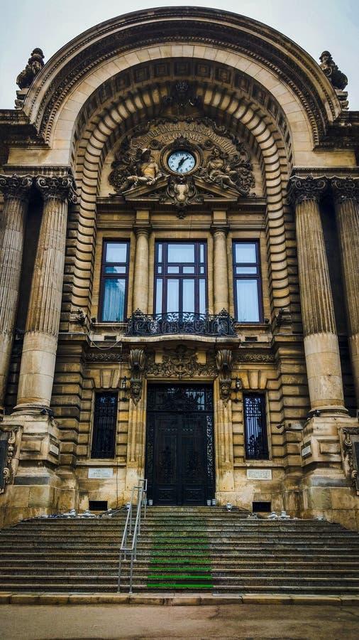 Intrare sediul CEC Bucuresti Romania stock photo