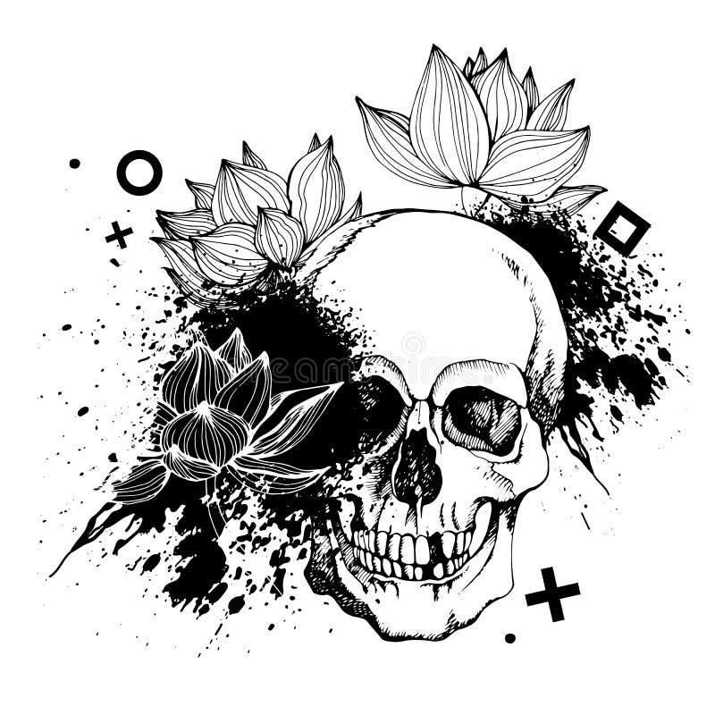 Intressant skallevektor med blommor stock illustrationer