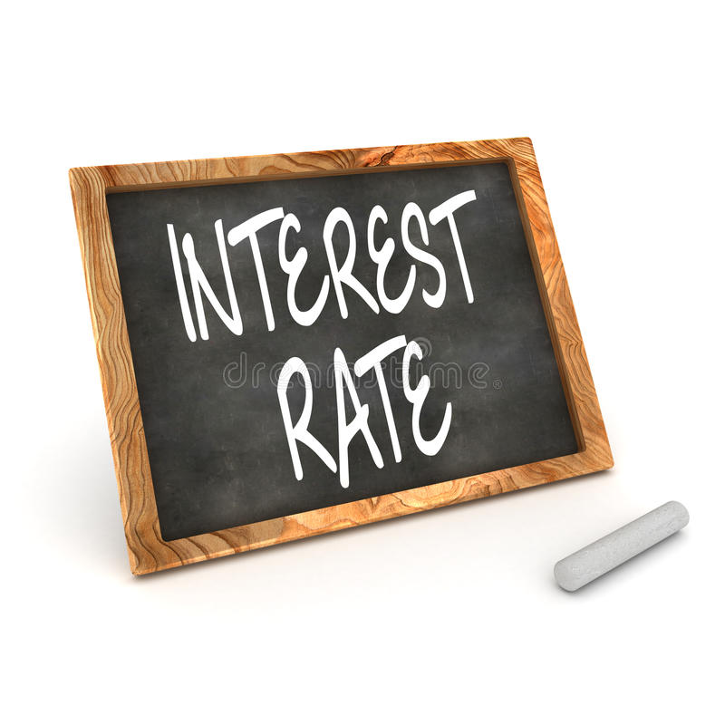 Intresse Rate Blackboard stock illustrationer