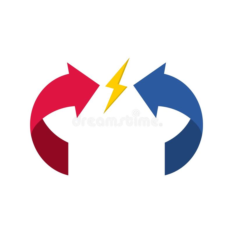 Intressekonfliktsymbol stock illustrationer