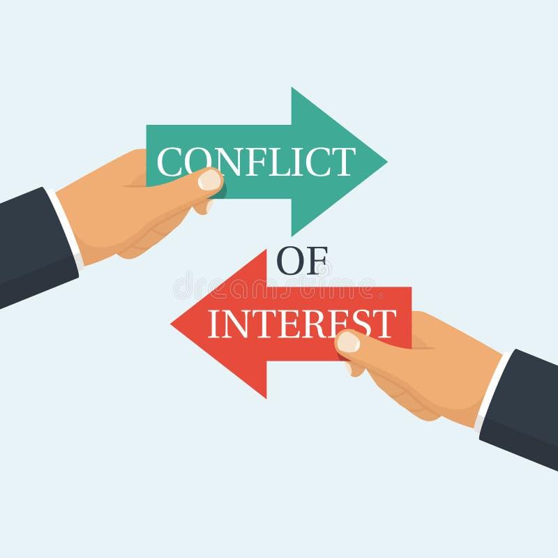 Intressekonfliktvektor stock illustrationer