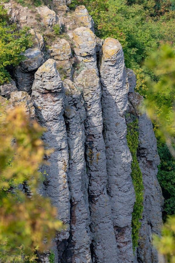 Intressera basaltkolonner i en ungersk kulle, St George, nära sjön Balaton royaltyfria bilder