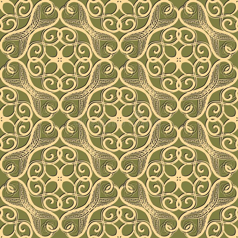 Intricate arabesque seamless pattern. Vector ornamental arabic style background. Greek key meanders. Repeat decorative lace. Backdrop. Hand drawn floral vintage royalty free illustration