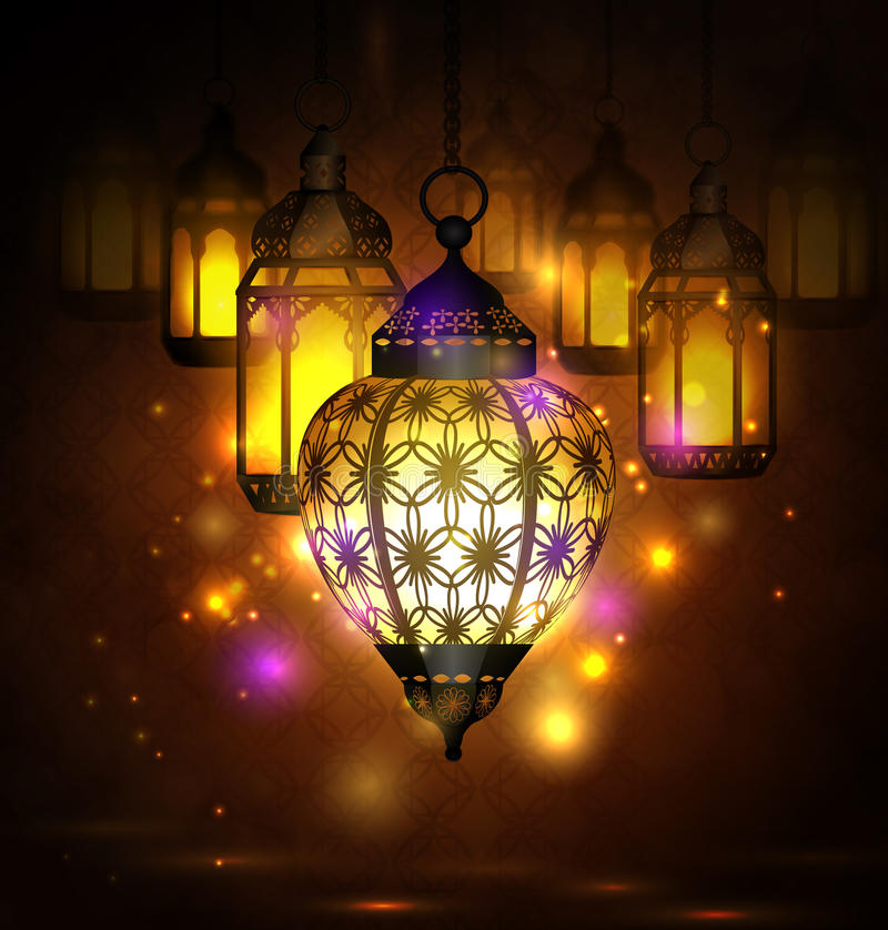 Download Intricate Arabic Lamps With Lights Stock Vector   Illustration Of  Decorative, Motive: 94183646