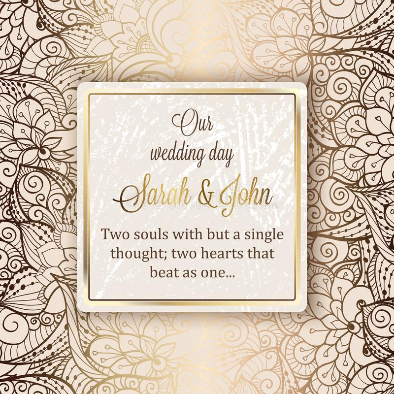 Intricate baroque luxury wedding invitation card, rich gold decor on beige background with frame and place for text, lacy foliage vector illustration