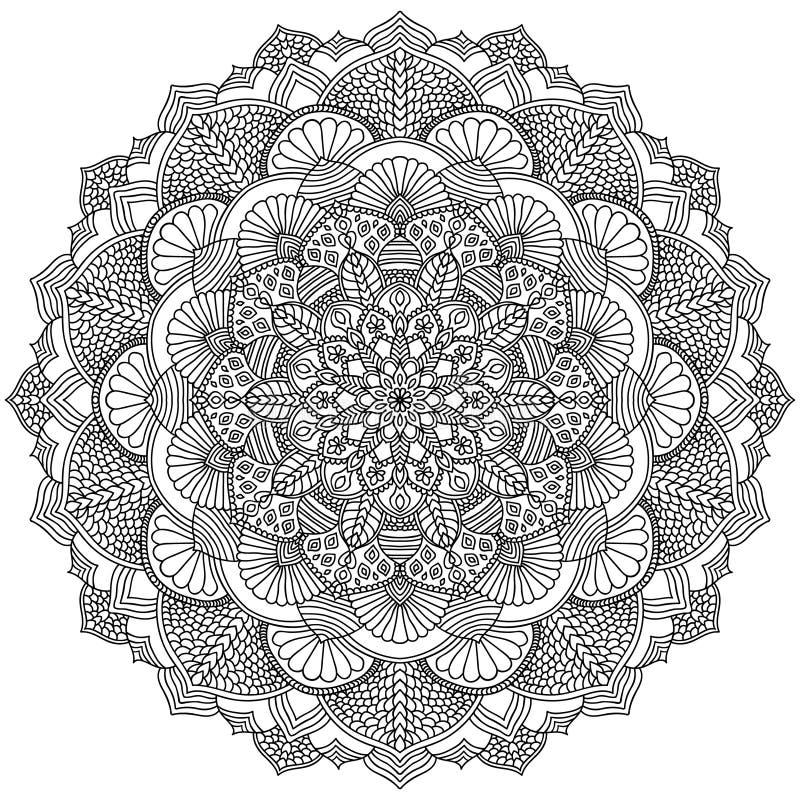 Intricate Black Mandala For Coloring Stock Vector