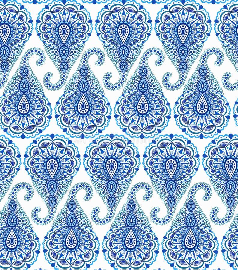 Intricate Blue Paisley Pattern stock illustration