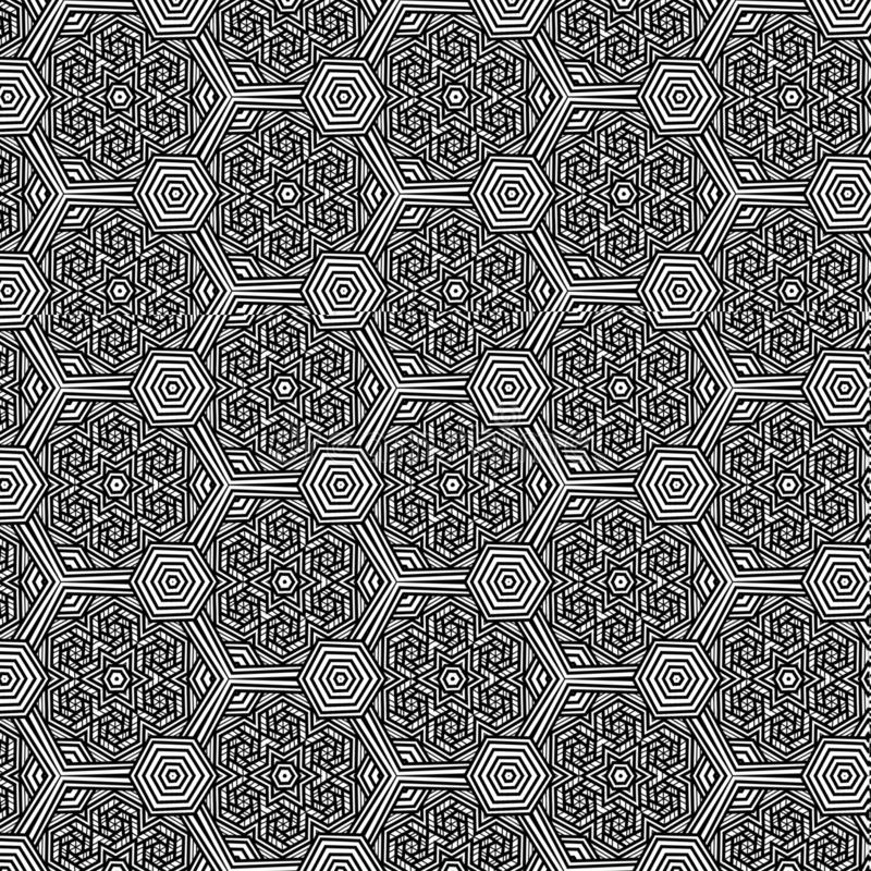 Intricate decorated black and white hexagons repeating pattern royalty free illustration