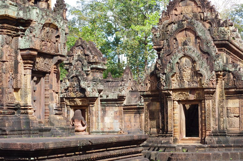 Intricate decoration of Banteay Srei. Banteay Srei is an exquisite miniature and palace in the heart of an immense and mysterious forest. Angkor. Cambodia stock photo