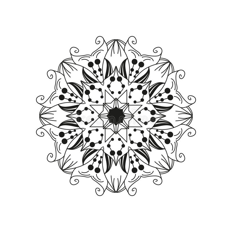 Intricate floral mandala. Abstract round web design element isolated on white background. Vector vector illustration