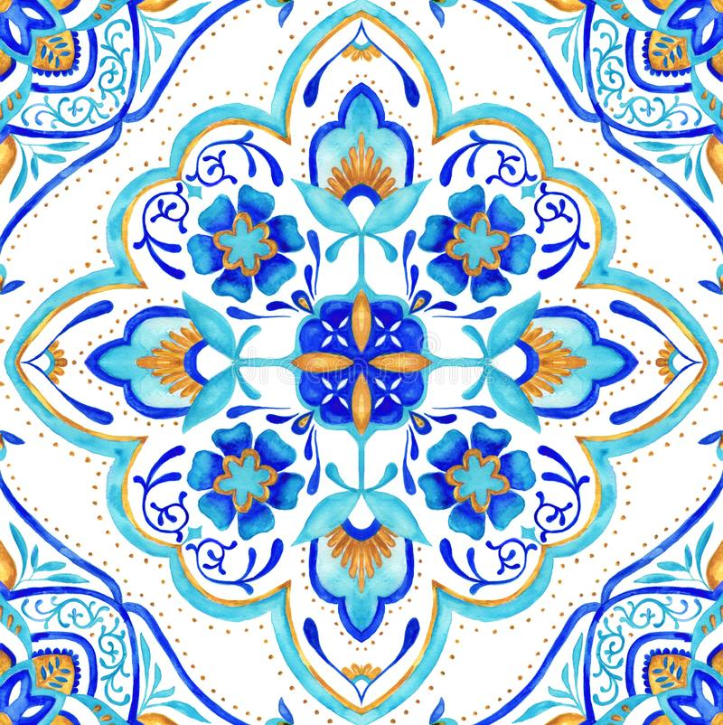Moroccan medallion seamless tile - aqua, turquoise and gold. Intricate hand painted Moroccan seamless tile featuring floral patterns, mandala and paisley stock illustration