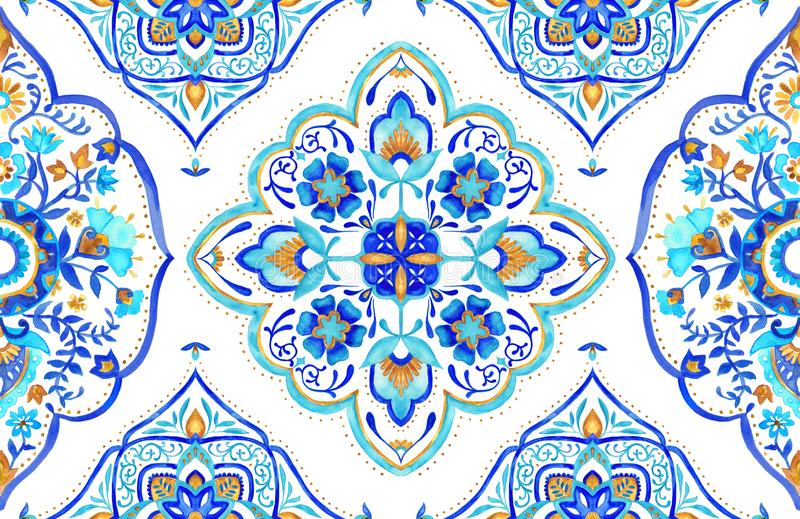 Seamless Moroccan motif tile - aqua, turquoise and gold. Intricate hand painted Moroccan seamless tile featuring floral patterns, mandala and paisley elements stock illustration