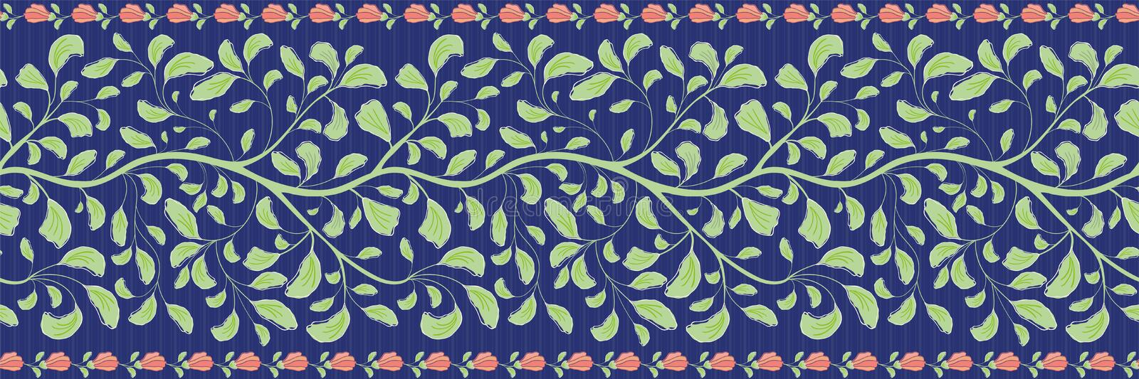 Intricate indian floral border with green leaves and coral flower edge. Seamless vector pattern on striped dark blue vector illustration