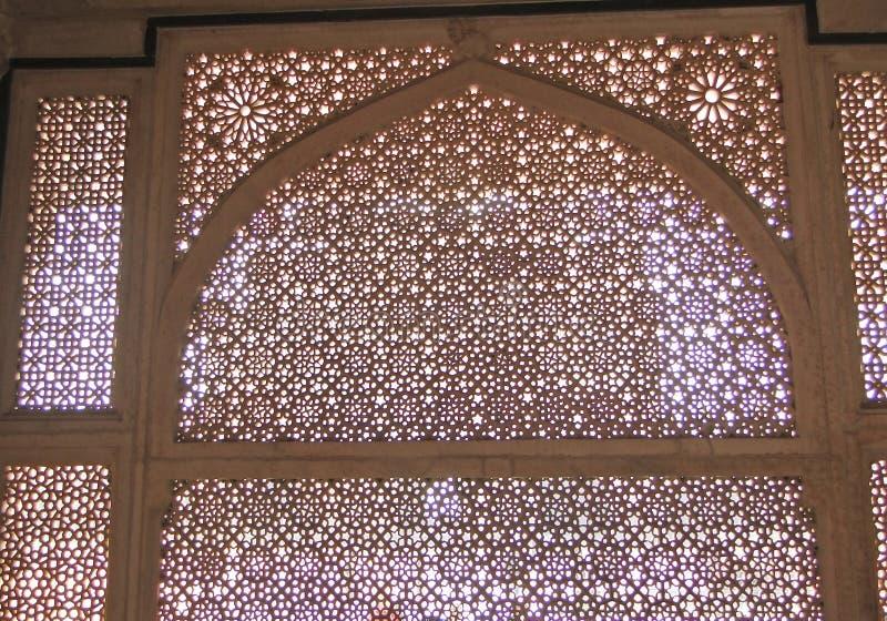 Intricate marble filigree screen. Tomb of Islamic Saint Salim Chisti,Fatepuhr Sikri, Agra,India, South Asia stock photos