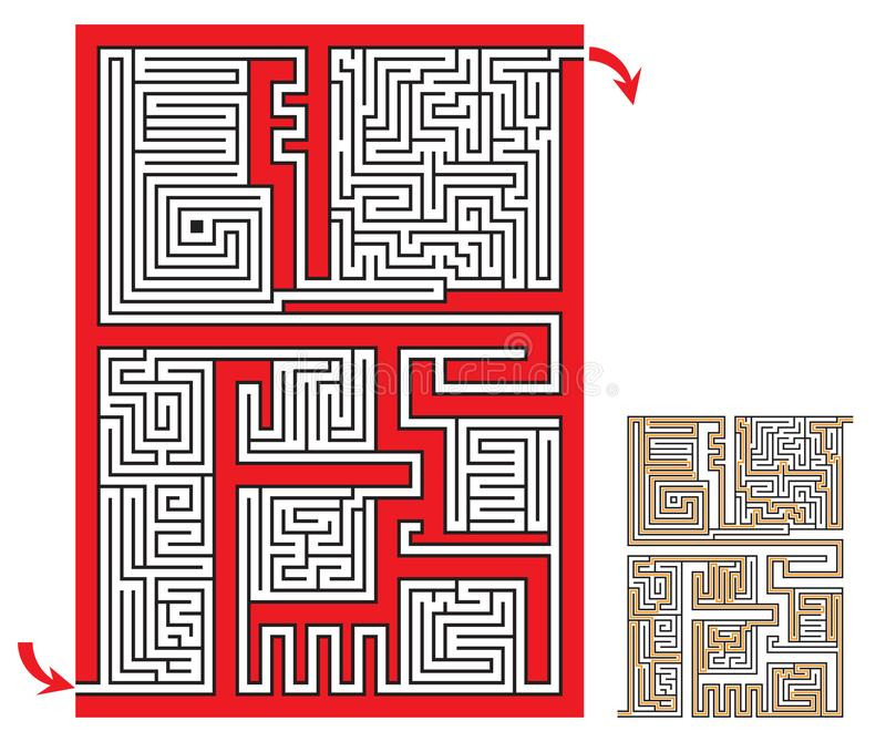 Intricate maze game sketch with a solution vector illustration