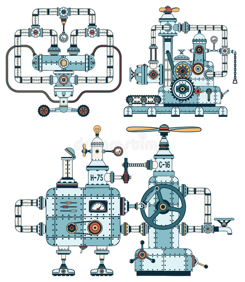 Intricate metal machines with pipes vector illustration