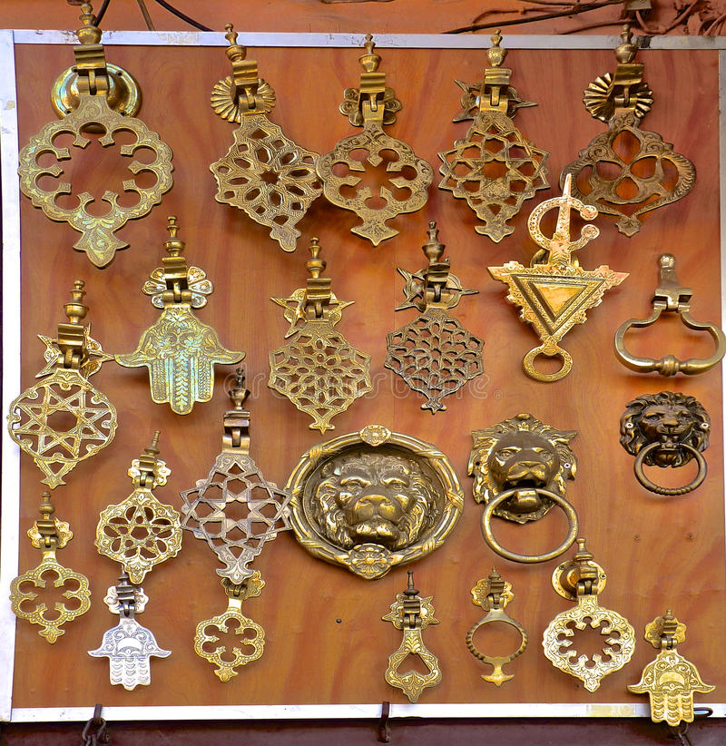 Metal Door Knockers at a Moroccan Souk royalty free stock photos