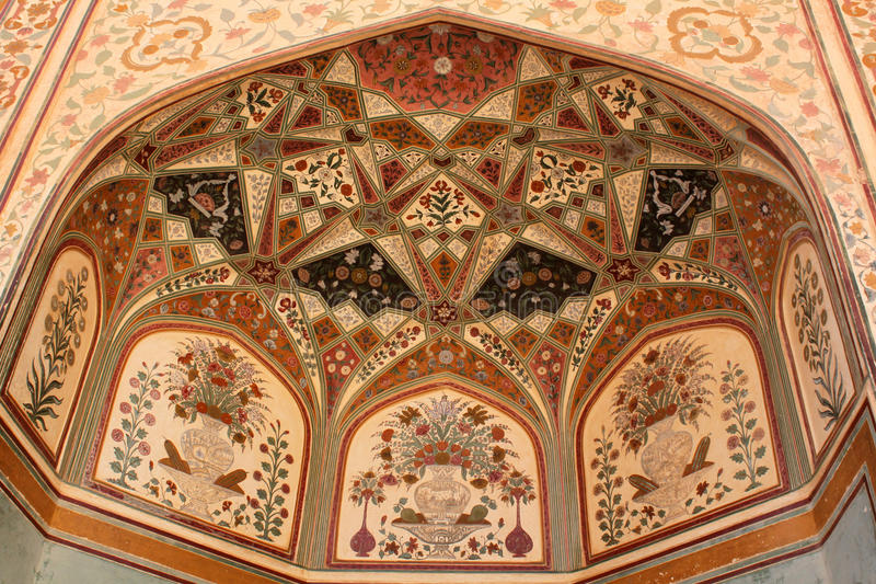 Intricate paintings on Ganesh Pol entrance Amber fort royalty free stock photos