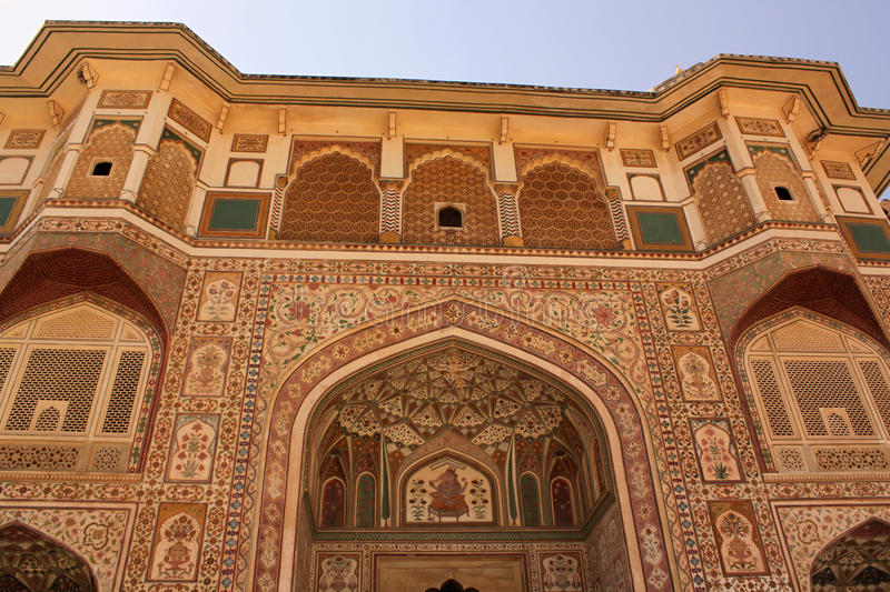 Intricate paintings on Ganesh Pol entrance Amber fort royalty free stock image