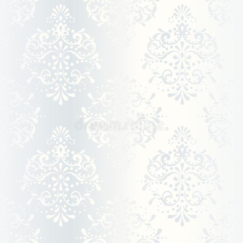 Intricate white satin wedding pattern. Elegant white seamless pattern, prefect for wedding designs. The tiles can be combined seamlessly. Graphics are grouped royalty free illustration