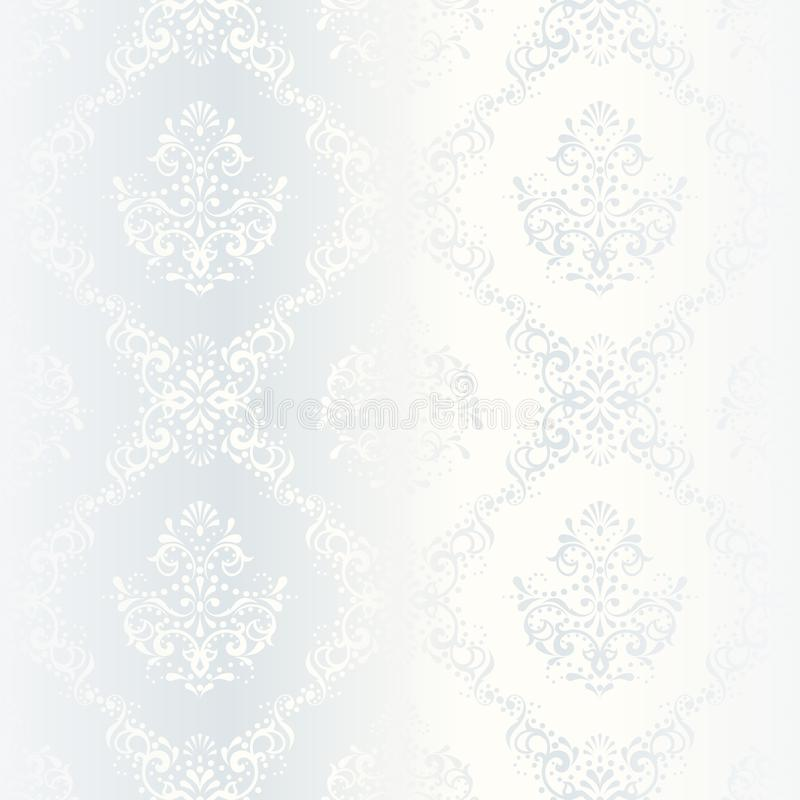 Intricate white satin wedding pattern. Elegant white seamless pattern, prefect for wedding designs. The tiles can be combined seamlessly. Graphics are grouped stock illustration