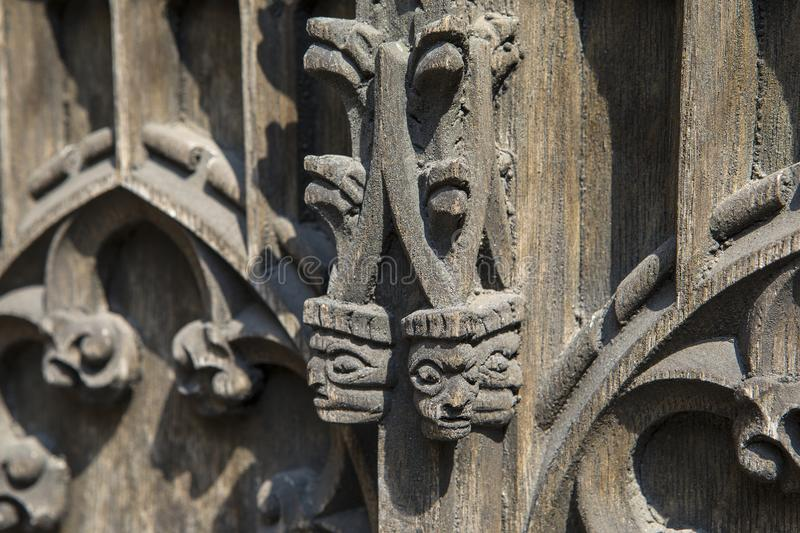 Carvings on the Doors of Coventry Cathedral royalty free stock photos