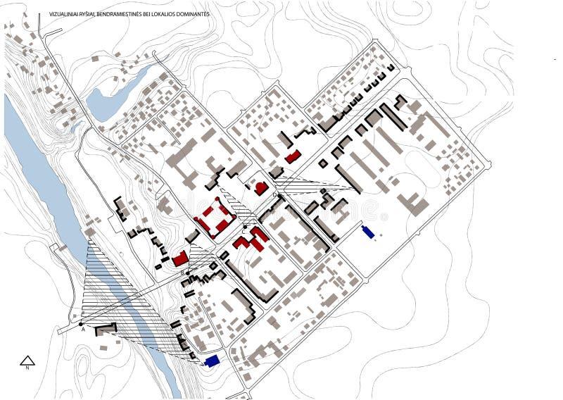 Intrig 2d, liten stad royaltyfri illustrationer