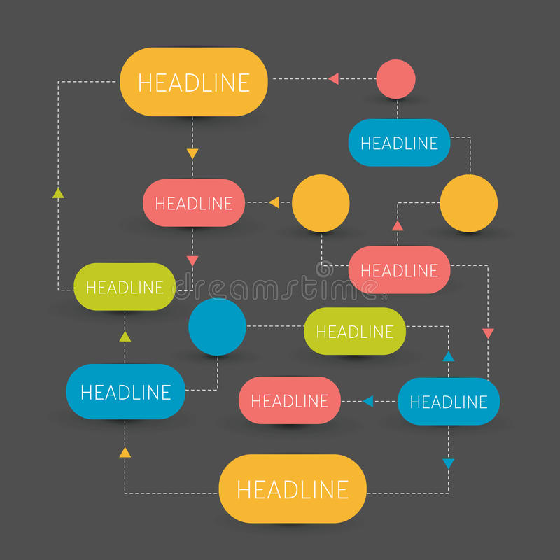 Intrig för flödesdiagram Infographics element stock illustrationer