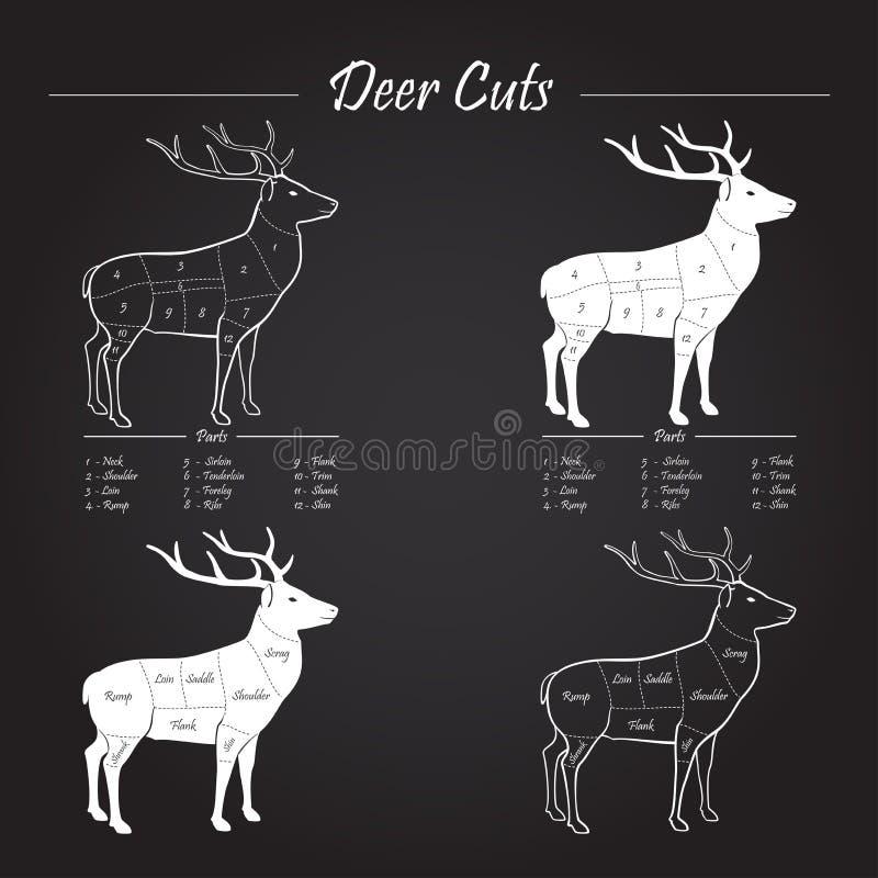 Intrig för hjortköttsnitt - beståndsdelar på svart tavla vektor illustrationer