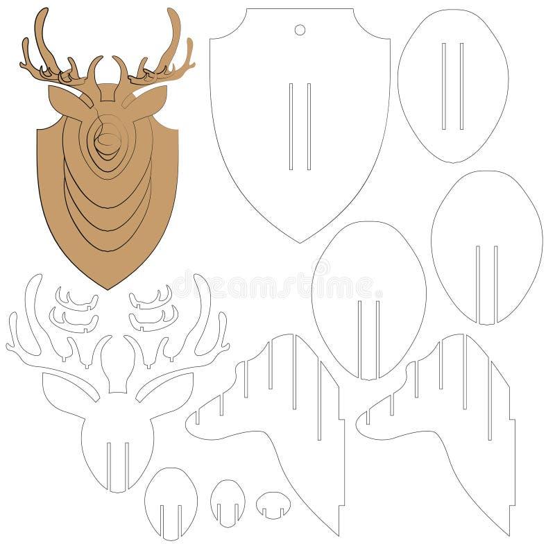 Intrigen av en hjort går mot att snida från ett träd stock illustrationer