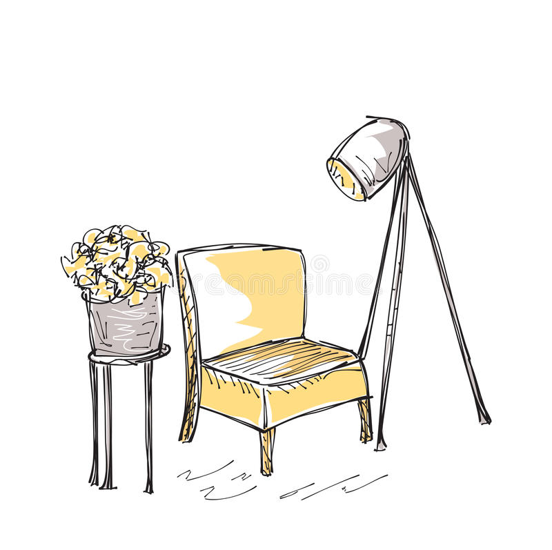 Intrior com cadeira e lâmpada ilustração stock