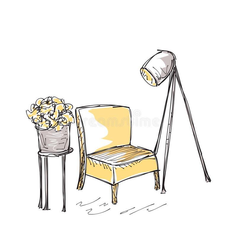 Intrior med stol och lampan stock illustrationer