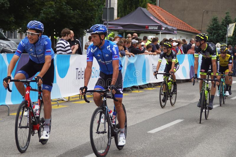 Tour of Slovenia, Lendava. Introducing teams before start of 25. Tour of Slovenia in city of Lendava in eastern Slovenia on June 13th 2018: members of Gazprom royalty free stock images