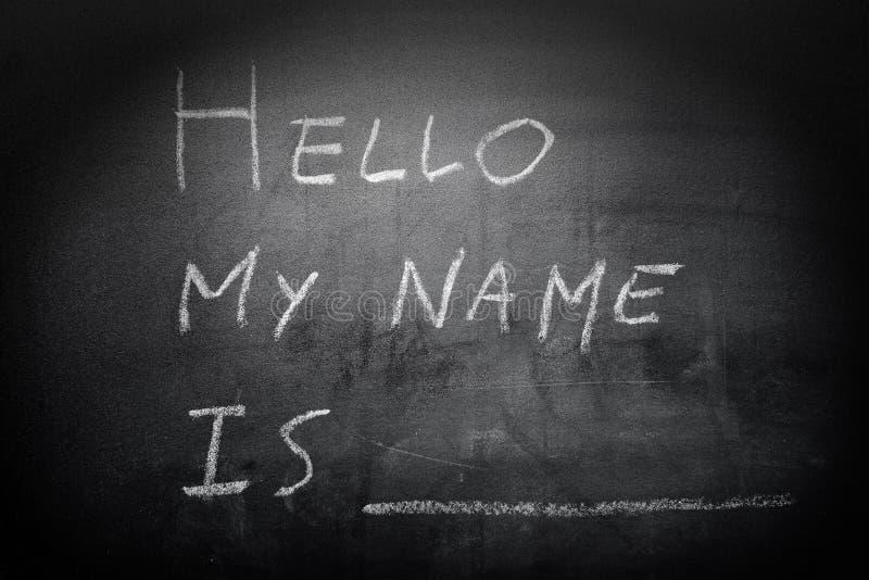 Introduction d'individu - bonjour, mon nom est écrit sur un blackboar images libres de droits