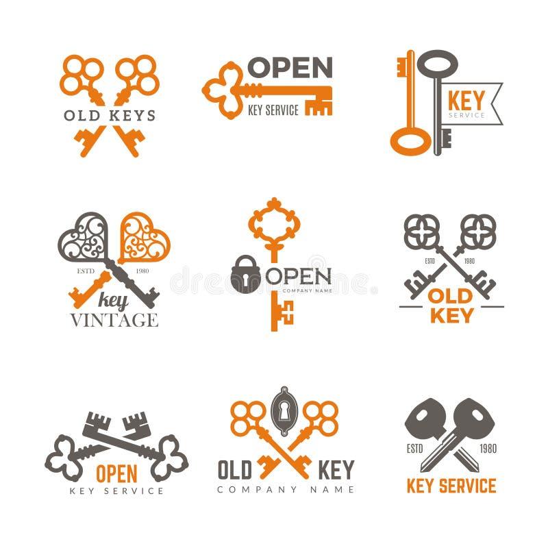 Introduisez le logo Emblèmes de cadenas d'immobiliers et images fleuries de vecteur de clés de cru élégant d'insignes illustration stock