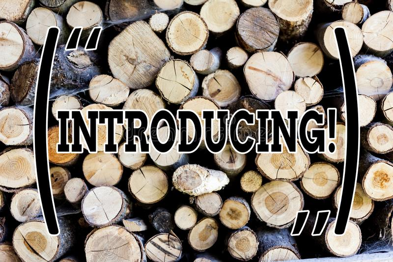Introduktion för textteckenvisning Begreppsmässigt foto som framlägger ett ämne eller någon träförsta möte för initial inställnin fotografering för bildbyråer