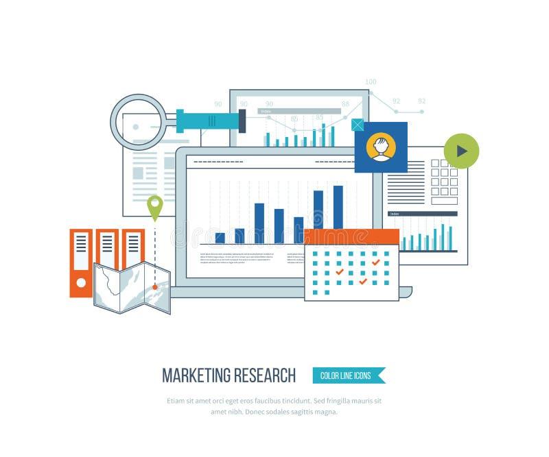 Introduza no mercado a análise da estratégia, a pesquisa de mercado em linha, a analítica do negócio e o planeamento ilustração stock