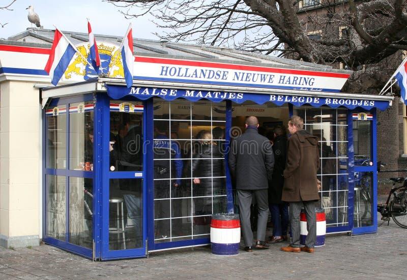 Introduza no mercado o suporte com os arenques novos holandeses, Haia, Países Baixos imagens de stock royalty free