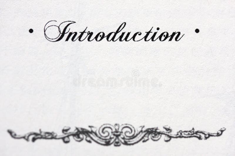 Introduzione fotografie stock