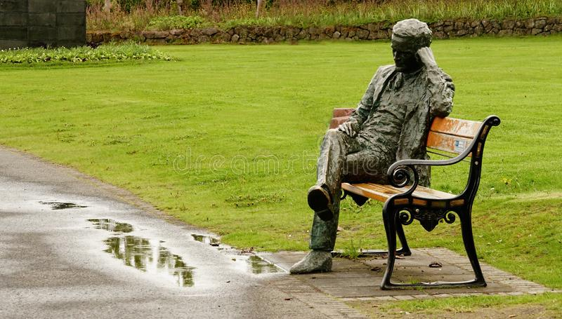 Introspection in a rainy day stock images