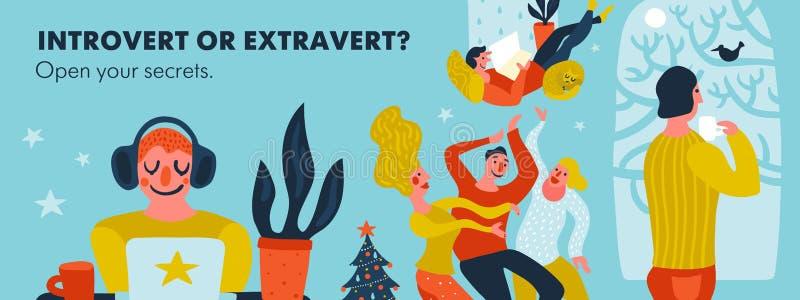 Introvert of Extravert Kopbalillustratie vector illustratie