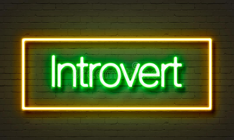 Introvert neon sign on brick wall background. vector illustration