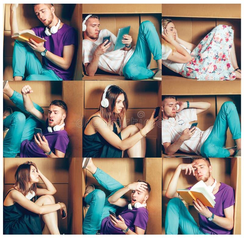 Introvertiertekonzept Collage des Mannes und der Frauen, die innerhalb des Kastens sitzen stockbilder