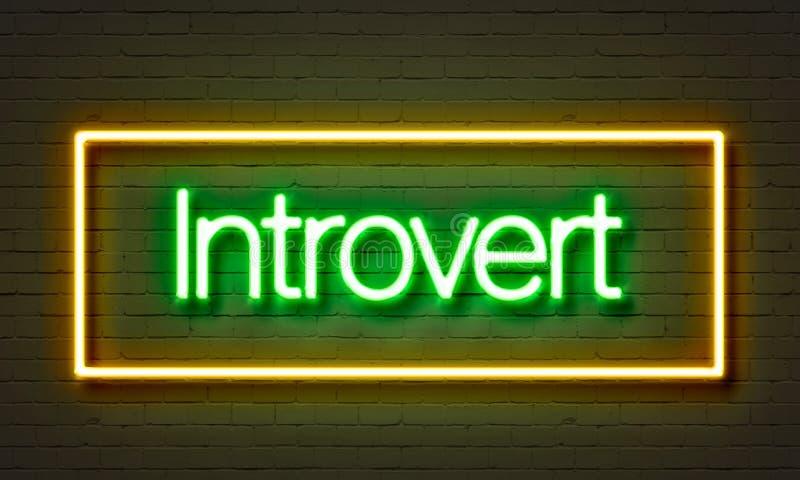Introwertyka neonowy znak na ściana z cegieł tle ilustracja wektor
