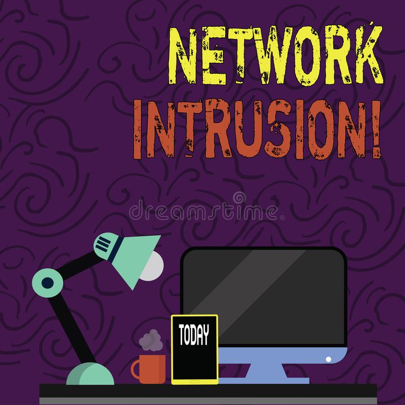 Intrusão da rede da exibição do sinal do texto Dispositivo da foto ou aplicação de software conceptual que monitora um arranjo da ilustração do vetor